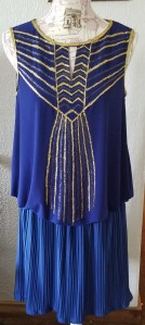Stories of Petey - Upcycled Art Deco Clothing - Art Deco Shirt with Blue Skirt